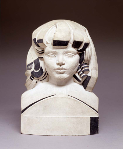 Girl with Bangs,  1919 Cast terra cotta with applied black paint 10 1/2 x 7 1/2 x 6 inches