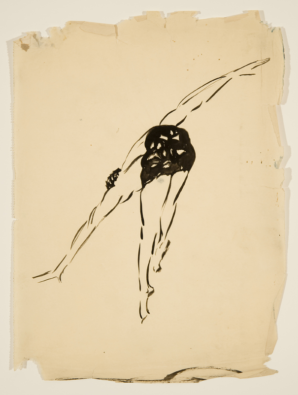 Vaslav Nijinksy,  1915 Ink on paper 10 x 7 1/2 inches