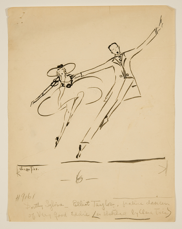 "Dorothy Sylvia and Elliot Taylor in ""Very Good Eddie"",  1915-16 Ink and pencil on paper 11 x 8 1/2inches"