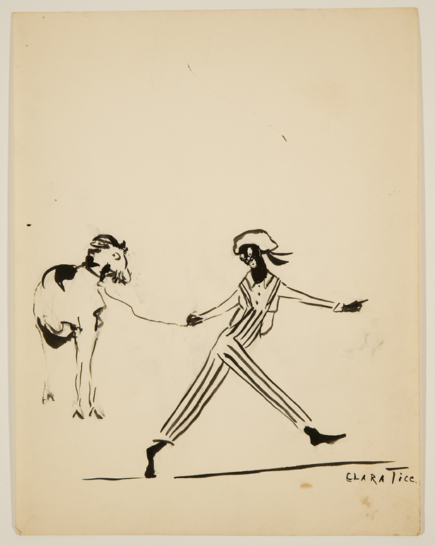 Drawing of man walking with a goat