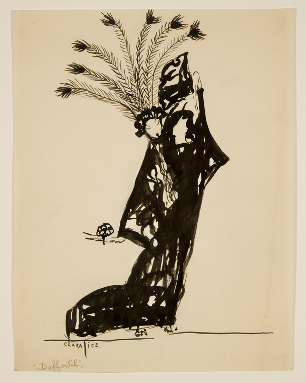 Drawing of woman posing wearing a large headpiece