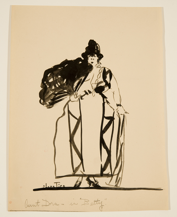 Drawing of woman in a large dress holding a big fan