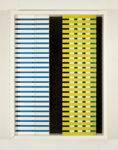 Painted wood and glass in blue and yellow horizontal lines