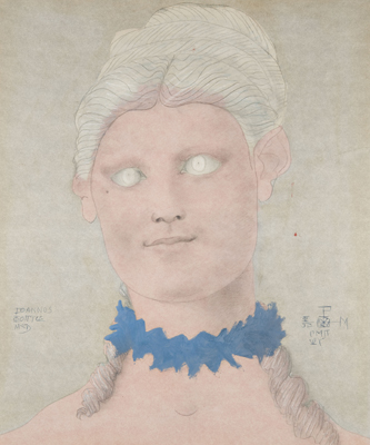 Painting of woman with blue necklace