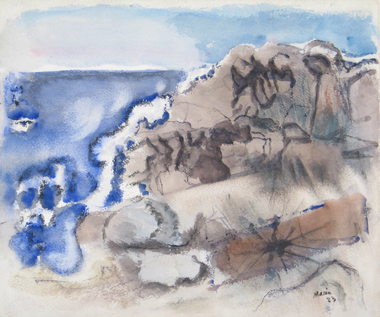 Watercolor of rocks and sea