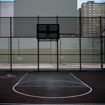 Photo of basketball court (dark tones)