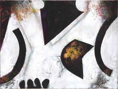 Abstract painting with white, black, orange shapes