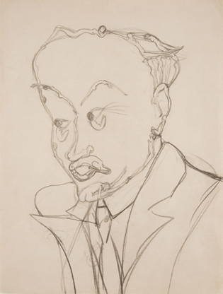 Portrait of Frank Crowninshield   c. 1920 Pencil on paper  11 7/8 x 9 inches