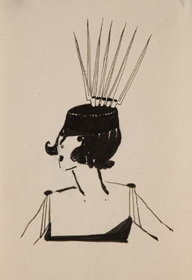 La Baionnette   c. 1917  Ink on paper  5 5/8 x 3 5/16 inches