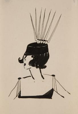 Woman wearing pointy headdress