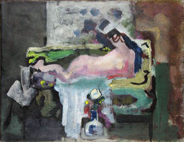 Arthur Beecher Carles  Nude on Sofa with Vase of Flowers,  1936-41 Oil on canvas  17 x 22 inches