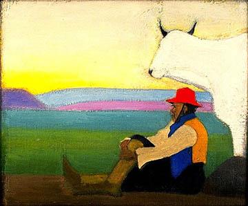 Man sitting against open landscape next to white animal