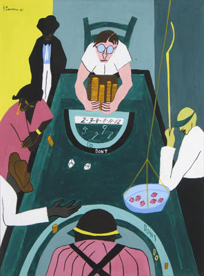 Jacob Lawrence   The Green Table,  1941  Tempera and guoache on paper board  23 3/4 x 18 inches
