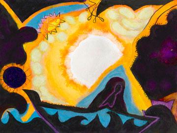 Abstract shapes (yellow, orange, purple, blue, green, black, white)