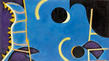Abstract shapes (yellow, orange, purple, blue, white, black)