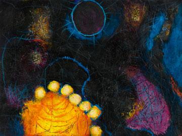 Abstract shapes (yellow, orange, purple, blue, white) on black background