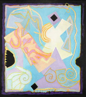 Abstract shapes (pink, blue, purple, black, white, yellow)