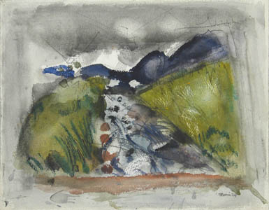 Watercolor of mountains and river