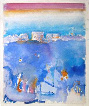 Watercolor of water and cityscape