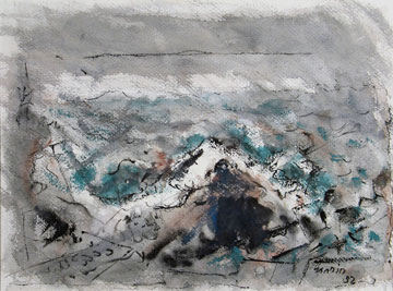 Approaching Fog,  1952  Watercolor on paper  14 x 19 inches