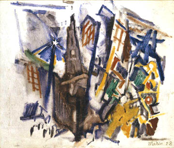 Abstract watercolor of St. Paul's NY