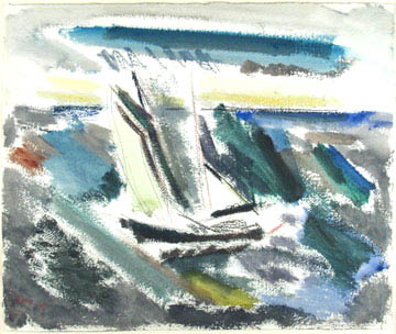 Abstract watercolor boat on water