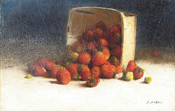 Strawberries Spilling out of an Overturned Box  c. 1893 Oil on canvas 9 x 14 1/8 inches