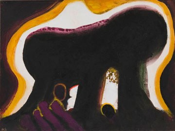 Darkness at Troy, 1981-2  Acrylic on paper  9 x 12 inches
