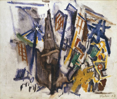 Related to St. Paul's, New York, 1928  Oil on canvas  26 1/2 x 30 inches