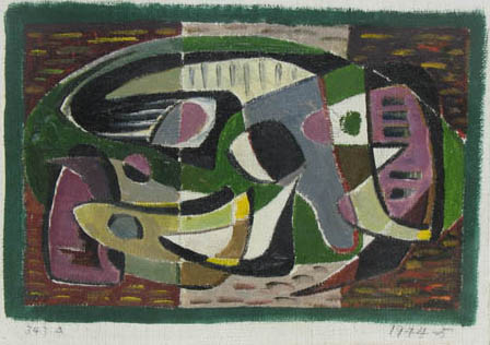 Abstraction #343 A,  1944-45 Oil on canvas 6 5/8 x 9 inches  Inquire