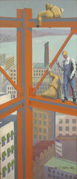 Building a Skyscraper , c. 1925-30 Oil on canvas 78 x 35 inches  Inquire