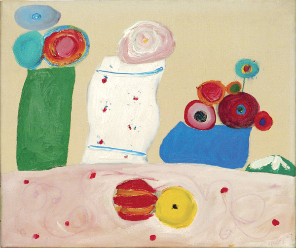 Three abstract vases (green, white, blue) with circular flowers