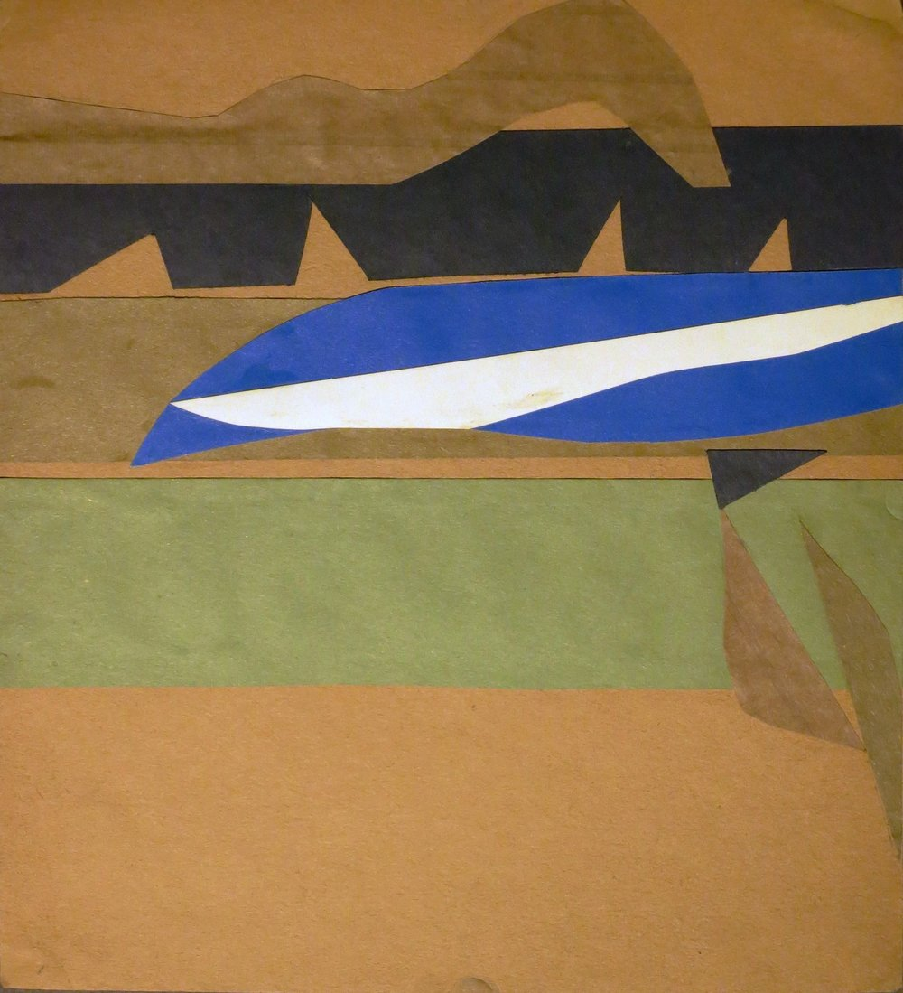 Abstract collage on brown paper with green, blue, white, and black