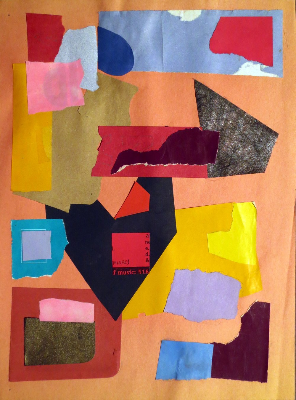 Abstract collage with blocks of paper and black arrow shape