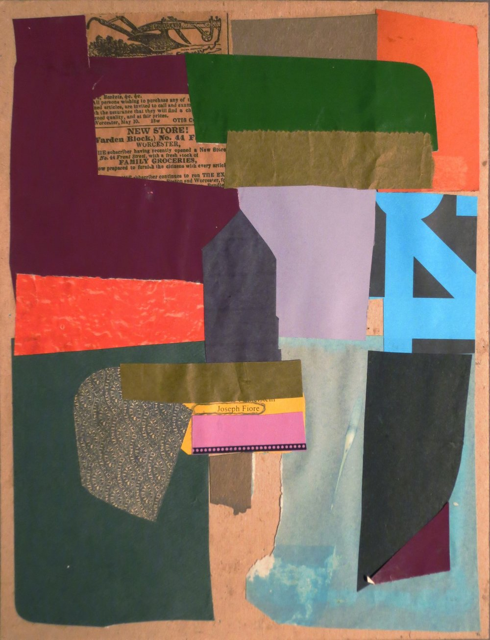 Abstract collage with purple, green, blue, pink, black