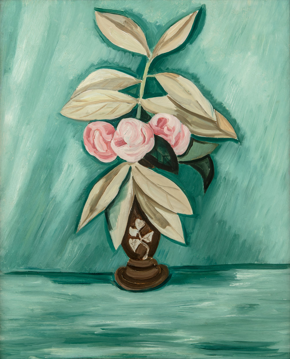 Pink flowers in brown vase with green background