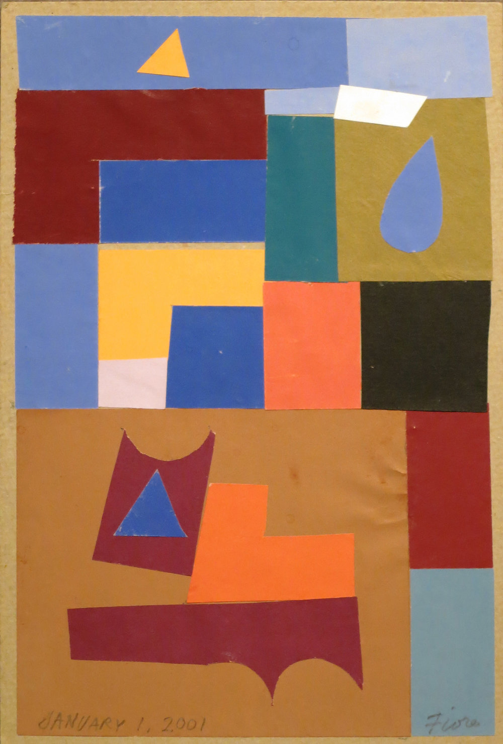 Abstract collage with red, blue, green, orange shapes on brown background