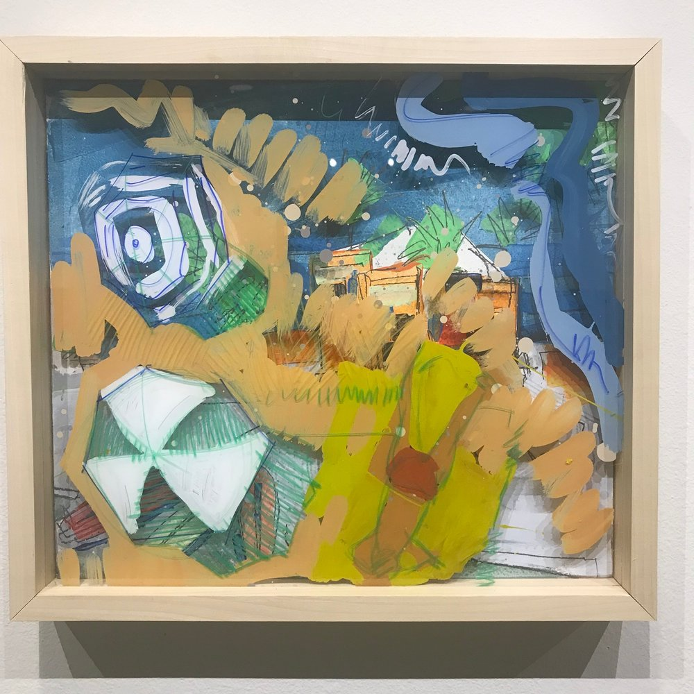 """Tan Fan, $600 - 18"""" x 16"""", acrylic and mixed media on Plexiglass and woodContact Tim Jaeger"""