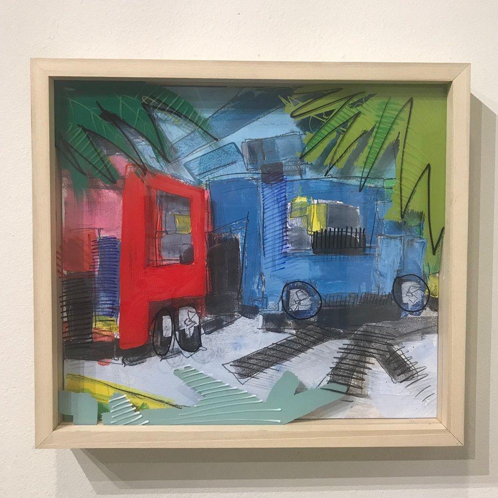 "Nacho Bizness, $600 - 18"" x 16"", acrylic and mixed media on Plexiglass and woodContact Tim Jaeger"