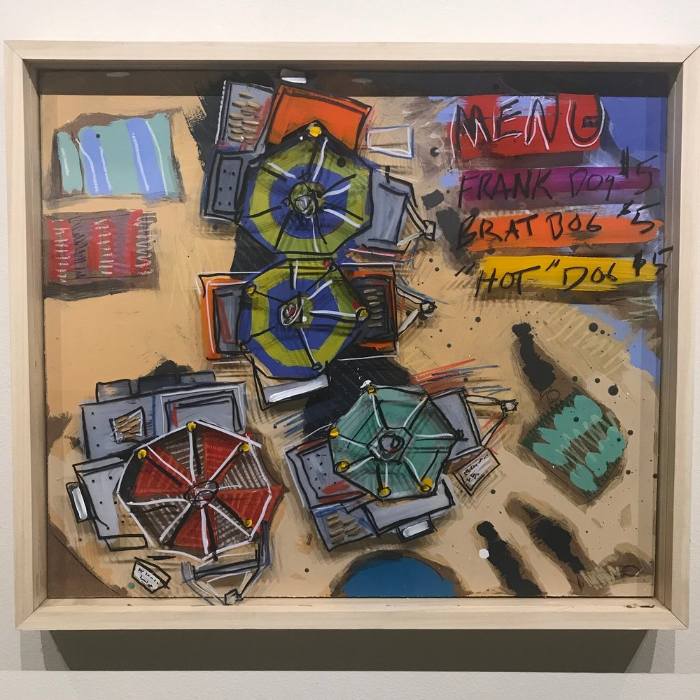 """Get em' While They're Hot, $900 - 28"""" x 24"""", acrylic and mixed media on Plexiglass and woodContact Tim Jaeger"""