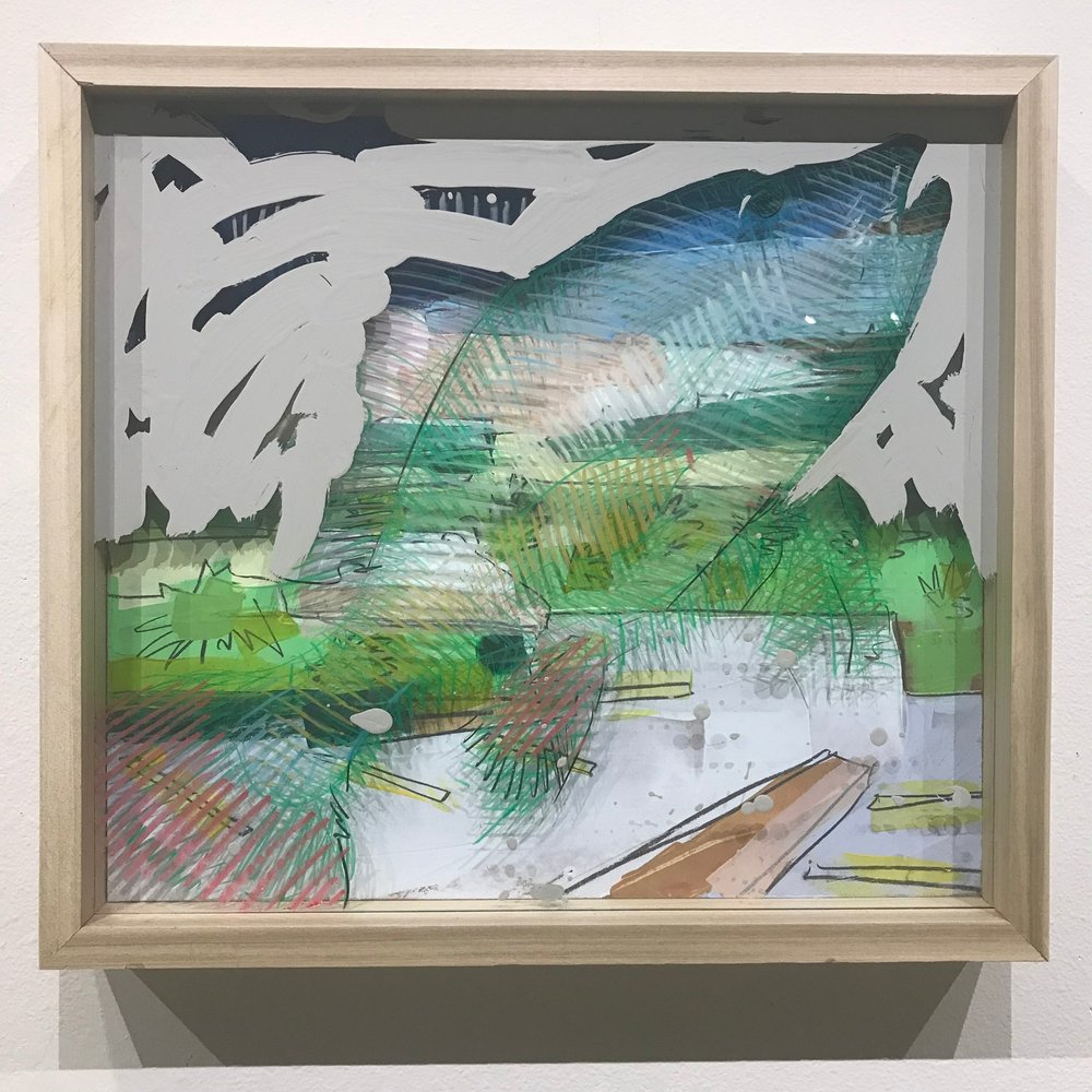 """Make it Snappy, $500 - 18"""" x 16"""", acrylic and mixed media on Plexiglass and woodContact Tim Jaeger"""