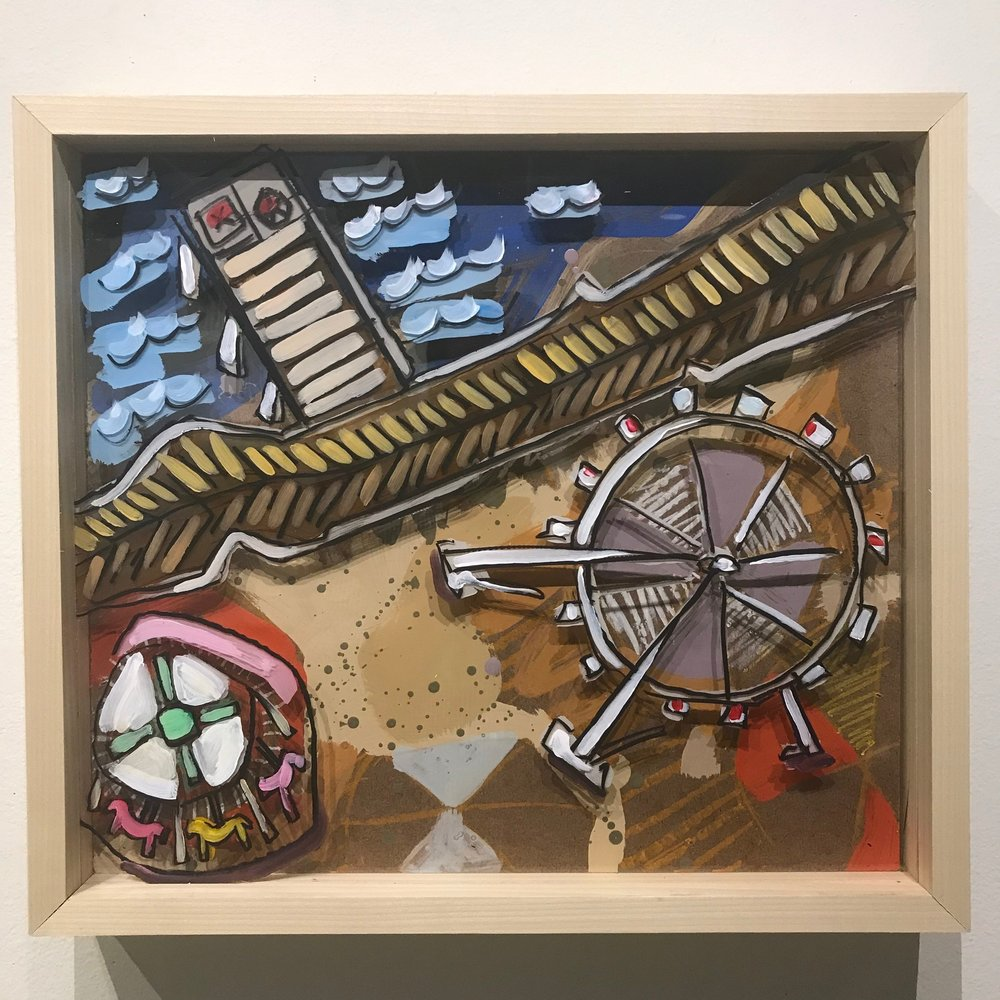 """Heading Out of Town, Atlantic City Here We Come! $500 - 18"""" x 16"""", acrylic and mixed media on Plexiglass and woodContact Tim Jaeger"""