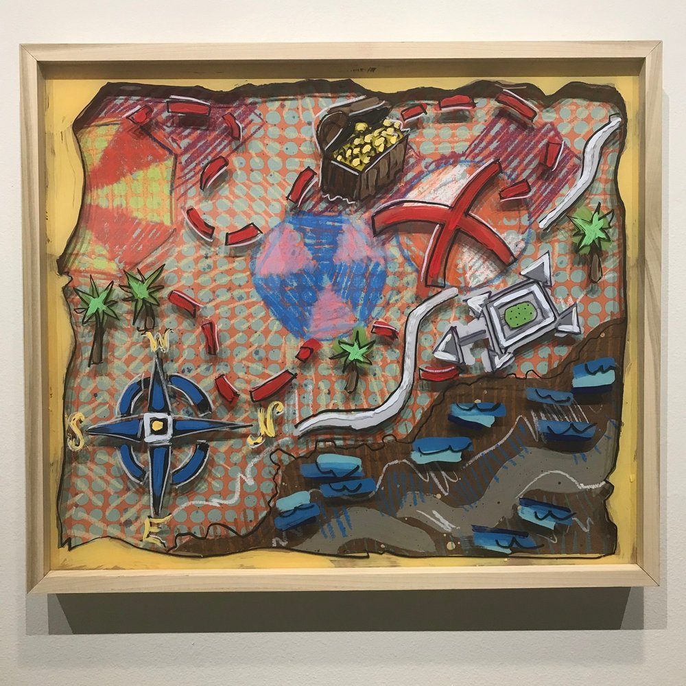 """X Marks the Spot, $1100 - 28"""" x 24"""", acrylic, fabric and mixed media on Plexiglass and woodContact Tim Jaeger"""