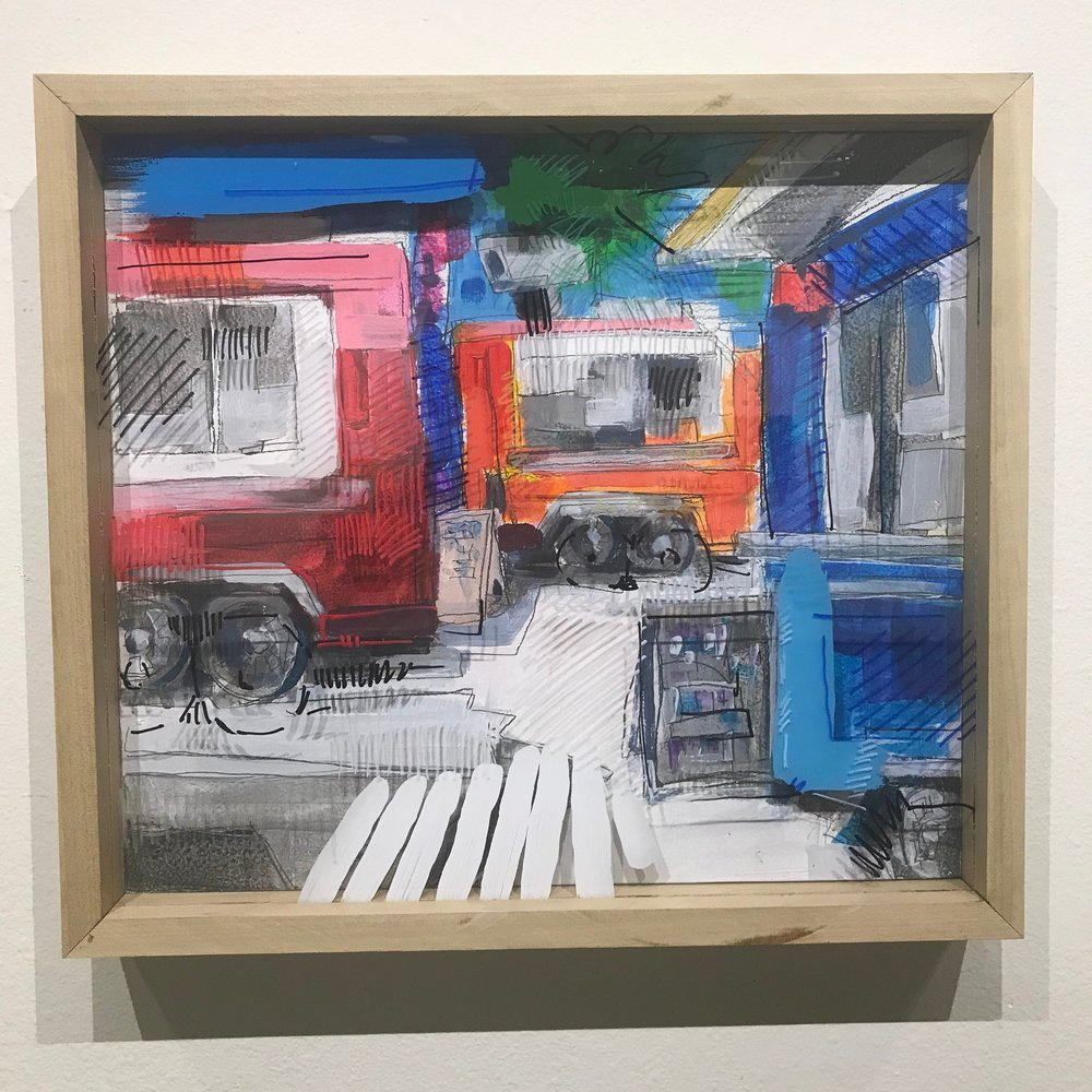 """Mucho Mobile, $500 - 18"""" x 16"""", acrylic and mixed media on Plexiglass and woodContact Tim Jaeger"""