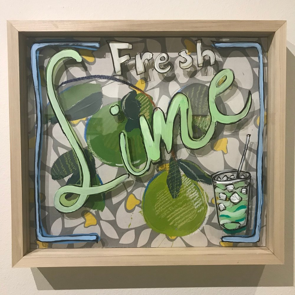 """So Refreshing, $500 - 18"""" x 16"""", acrylic and mixed media on Plexiglass and woodContact Tim Jaeger"""