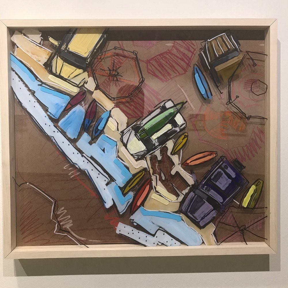 """It's about Head High and Glassy, $900 - 28"""" x 24"""", acrylic, fabric and mixed media on Plexiglass and woodContact Tim Jaeger"""