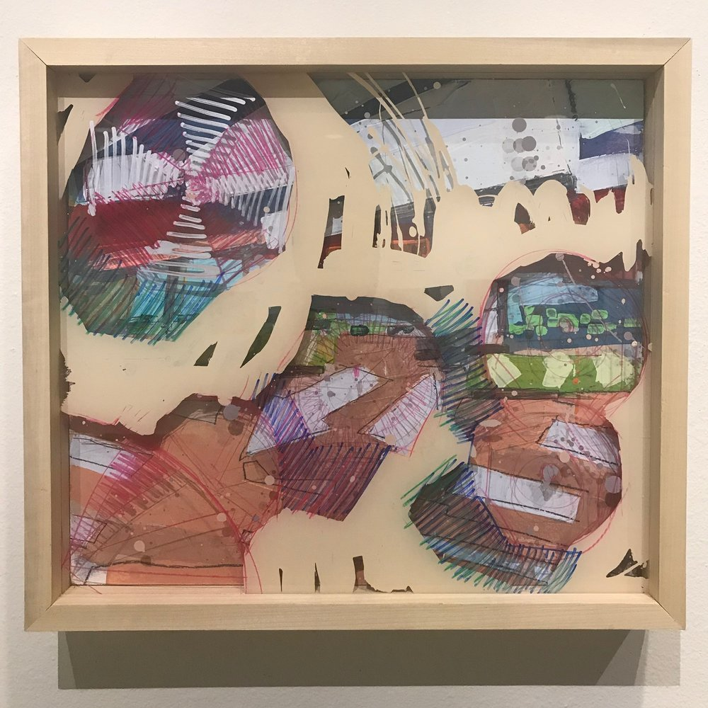 """Lido-esque, $600 - 18"""" x 16"""", acrylic and mixed media on Plexiglass and woodContact Tim Jaeger"""