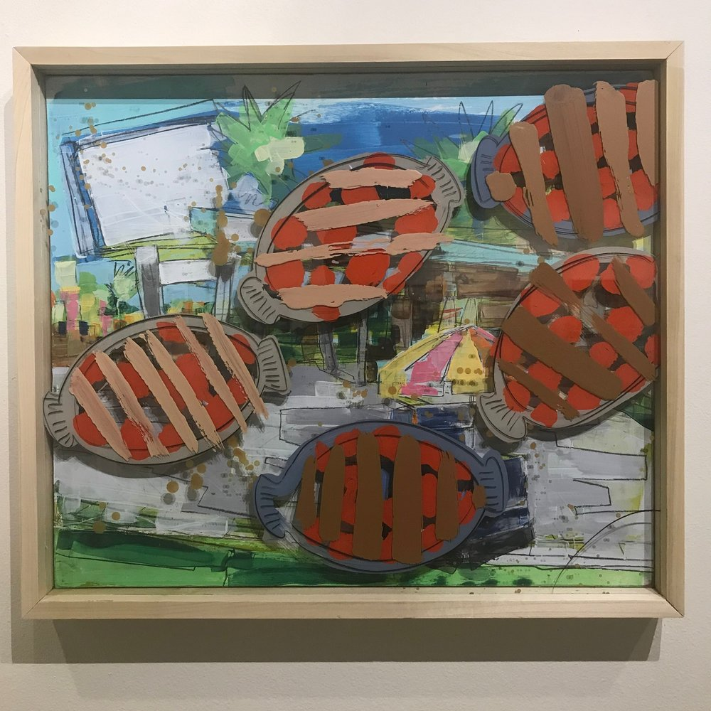 """2nd Best, $1100 - 28"""" x 24"""", acrylic, fabric and mixed media on Plexiglass and woodContact Tim Jaeger"""