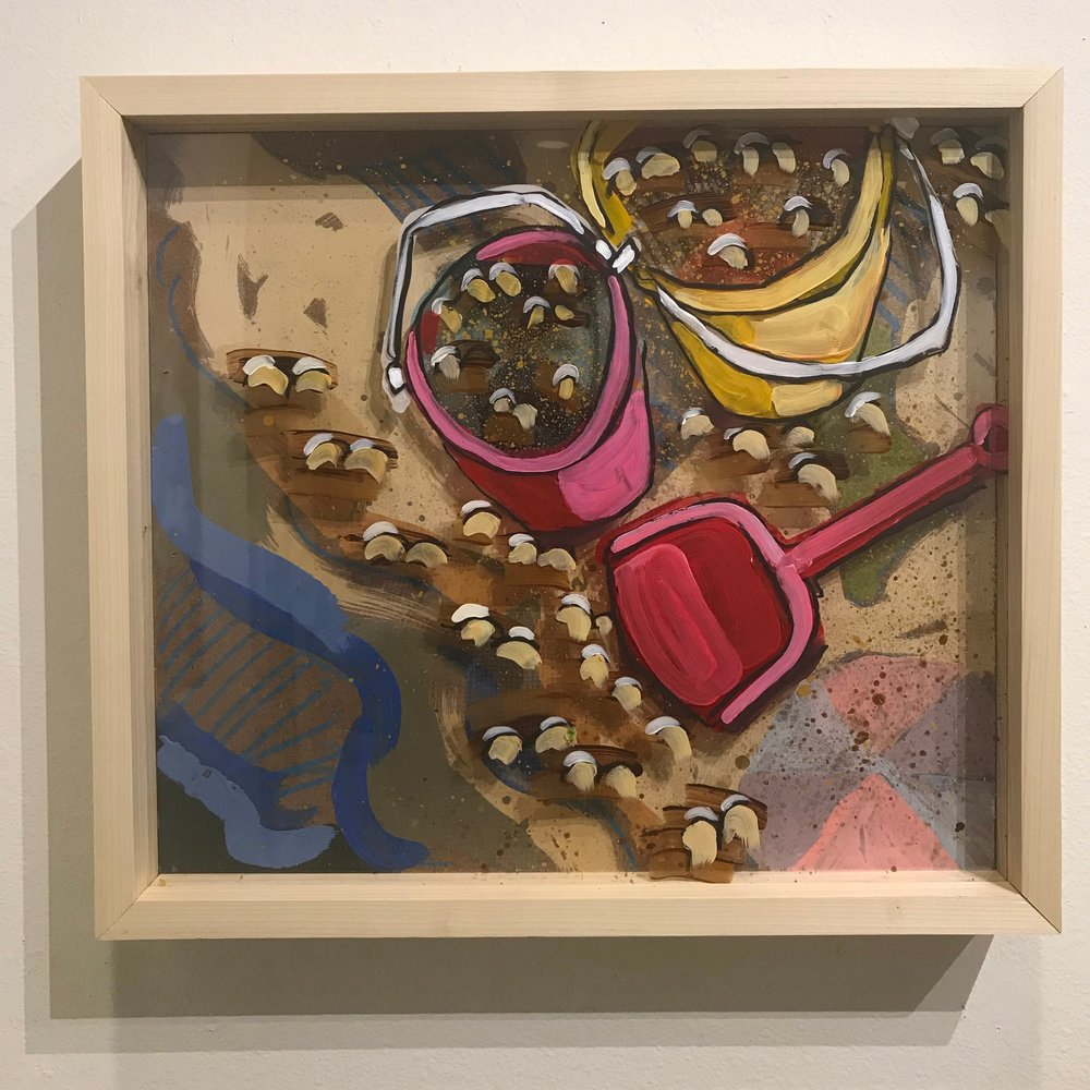 """It's Playtime! $500 - 18"""" x 16"""", acrylic and mixed media on Plexiglass and woodContact Tim Jaeger"""