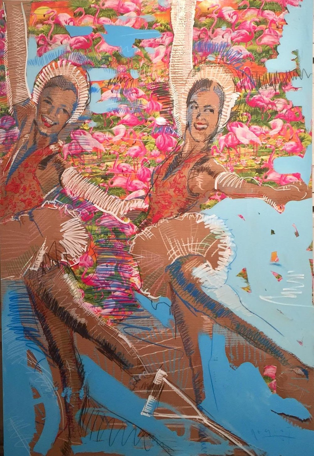 """Ski Champs in Action, 48"""" x 60"""", acrylic and oil on board and plexiglass, 2016"""